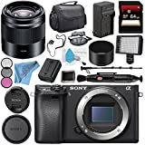Sony Alpha a6300 Mirrorless Digital Camera (Black) ILCE6300/B + Sony E 50mm f/1.8 OSS Lens (Black) SEL50F18/B + NP-FW50 Replacement Lithium Ion Battery + External Rapid Charger Bundle