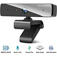 1080P Webcam with Microphone, Walfront HD PC Web Camera for Computer Desktop Laptop, 95° Wide Angle USB Streaming Webcam with Plug and Play Multi-Compatible for Video Conference Recording Online Class