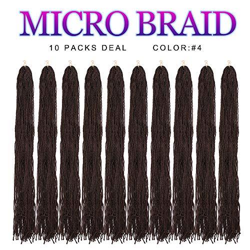 Thin Box Braid Crochet Twisted Hair 10Packs 28 Inch ZiZi Box Braids Synthetic Crochet Twisted Hair Extensions Micro Afro 3S Box Braids 28 Strands/Pack for Women (4#) ()