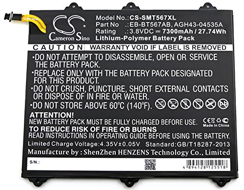 HENZENS 7300mAh Li-Polymer Battery Replacement EB-BT567ABA for Samsung SM-T567 , SM-T567V , Galaxy Tab E 9.6 XLTE ,SM-T560NU by Cameron Sino