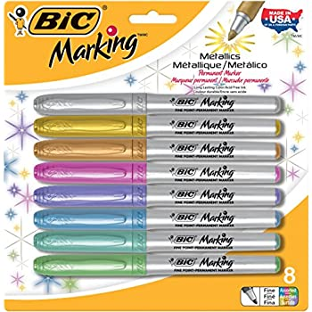 BIC Marking Metallic Permanent Markers, Fine Point, Assorted Colors, 8-Pack