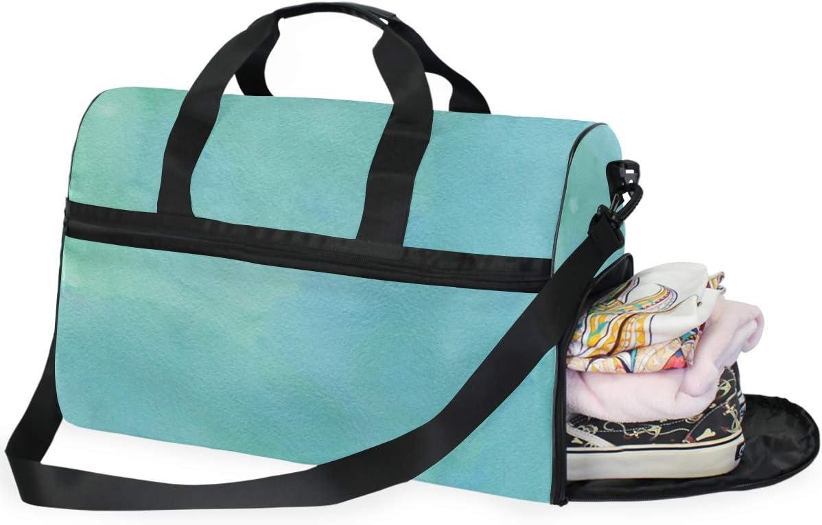 FANTAZIO Green Ink Painting Sports Bag Packable Travel Duffle Bag Lightweight Water Resistant Tear Resistant