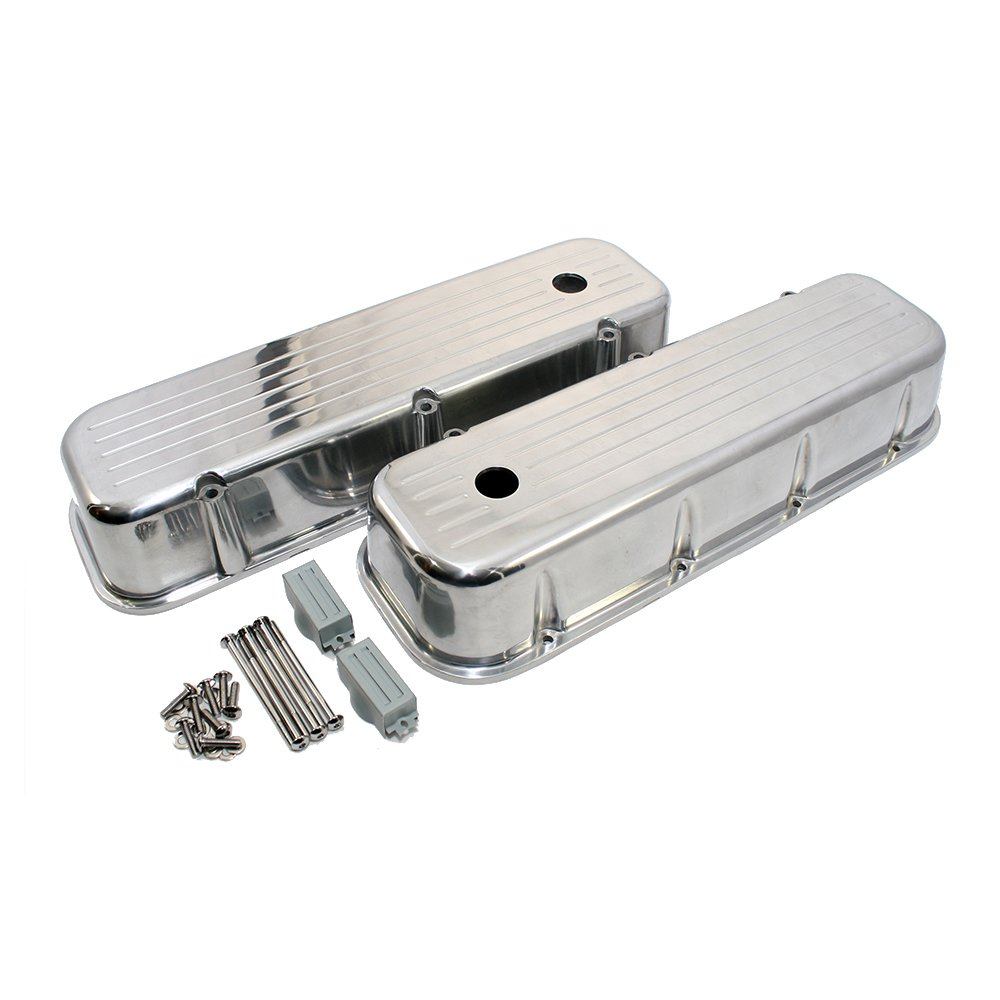 Assault Racing Products A6330X Big Block Chevy Flame Polished Aluminum Tall Valve Covers BBC 396 427 454