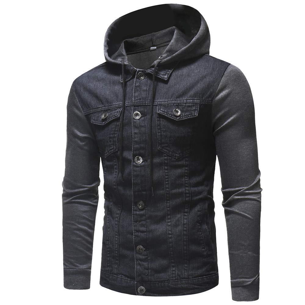 Demin Jacket Baigoods Mens' Autumn Winter Hooded Vintage Distressed Tops Coat Outwear Baigoods_004989