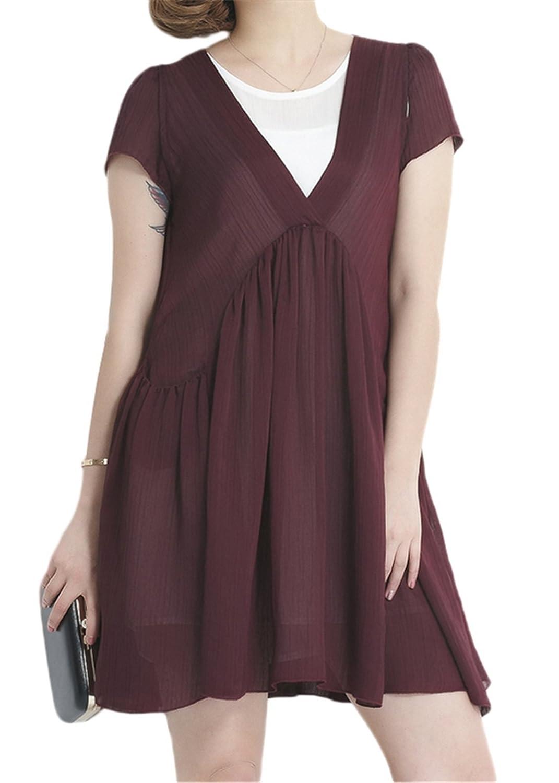 Luna et Margarita ¨¹bergr??es kurz?rmeliges A-Linie Kleid aus Chiffon mit R¨¹sche und reiner Farben
