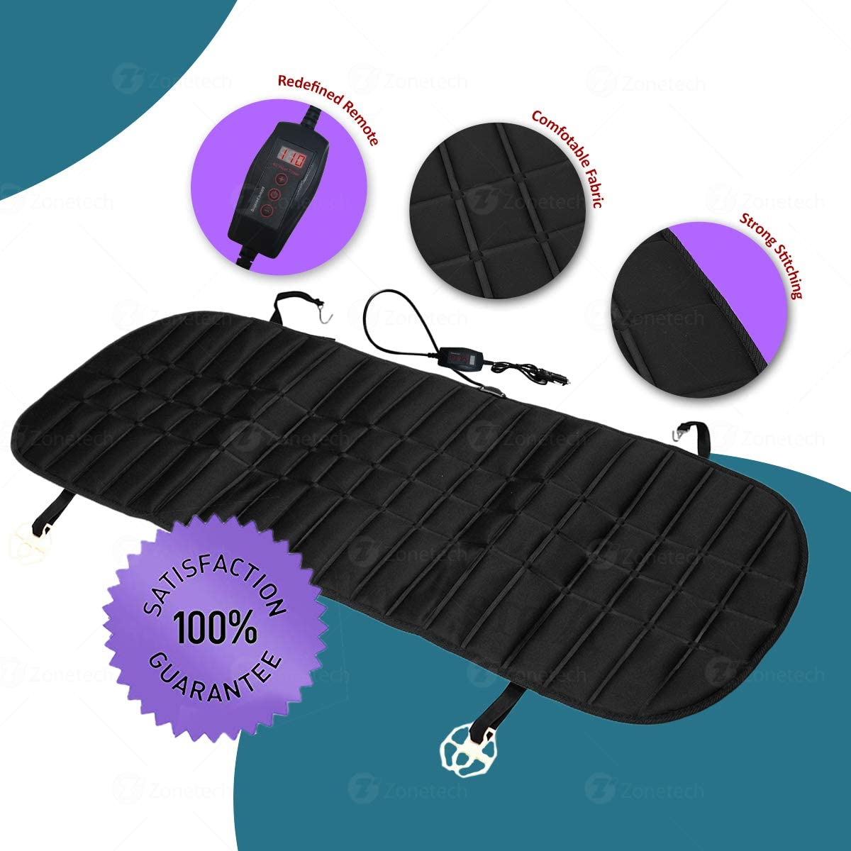 Black Premium Quality 12V Heating Warmer Rear Pad Hot Cover Perfect for Cold Weather and Winter Driving Heating Pad for Car DesirePath Heated Rear Seat Cushion