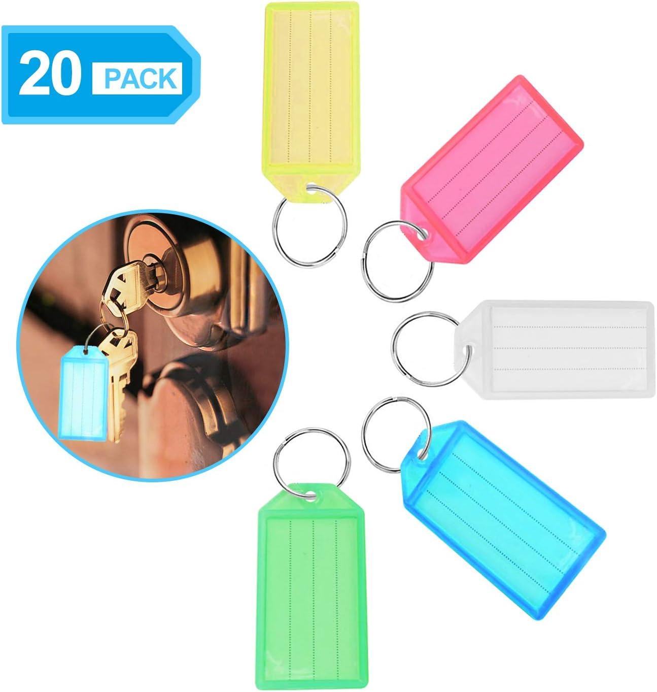 20 llaveros de plástico de color XCOZU con etiquetas, se utiliza para el nombre de la llave, equipaje, mascota y bolsa, tarjeta de papel para escribir llaveros con llaveros con anillas divididas