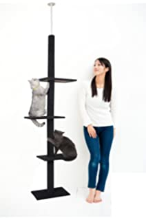 Large Hammock 2 Super Large Condos PAWZ Road Multi-Level Floor to Ceiling Cat Tree Tall Cat Tower with Sisal-Covered Scratching Posts Adjustable Height 96-106 Inches