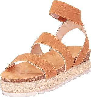fffe93d026b Nature Breeze Women s Casual Summer Spring Open Toe Espadrille Wedge Sandals