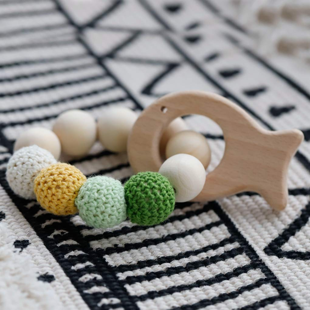 Mamimami Home 2pc Baby Teethers Safe Holz S/äugling Spielzeug Zahnen Spielzeug Bio Baby Chew Rassel Babyshower Baby Geschenk Holz Ring Perlen H/äkeln Armband Teether Spielzeug