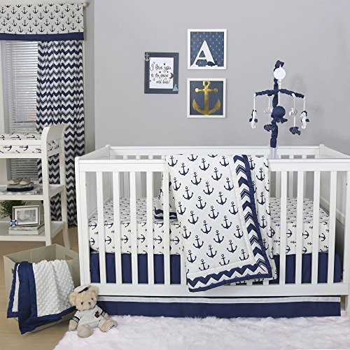 Sail Away Blue Nautical Anchor Baby Crib Bedding - 20 Piece Nursery Essentials Set -