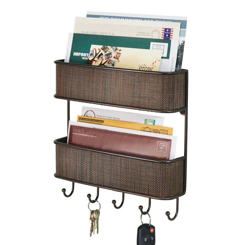 mDesign Wall Mount Metal Woven Mail Organizer Storage Basket - 2 Tiers, 6 Hooks - for Entryway, Mudroom, Hallway, Kitchen, Office - Holds Letters, Magazines, Coats, Leashes, Keys - Bronze
