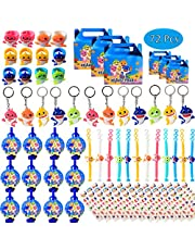 Shark Birthday Party Favors for Baby Supplies- Shark Bracelets, Rings, Key Chains, Blower Whistles, Tattoos and Goodie Bags for Classroom Rewards Carnival Prizes Set Gifts for Kids Boys Girls - Serve