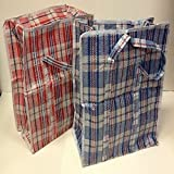 Set of 2 Extra-Large Plastic Poly Woven Checkered Storage Laundry Shopping Bags W. Zipper & Handles Size 23'x23'x5'