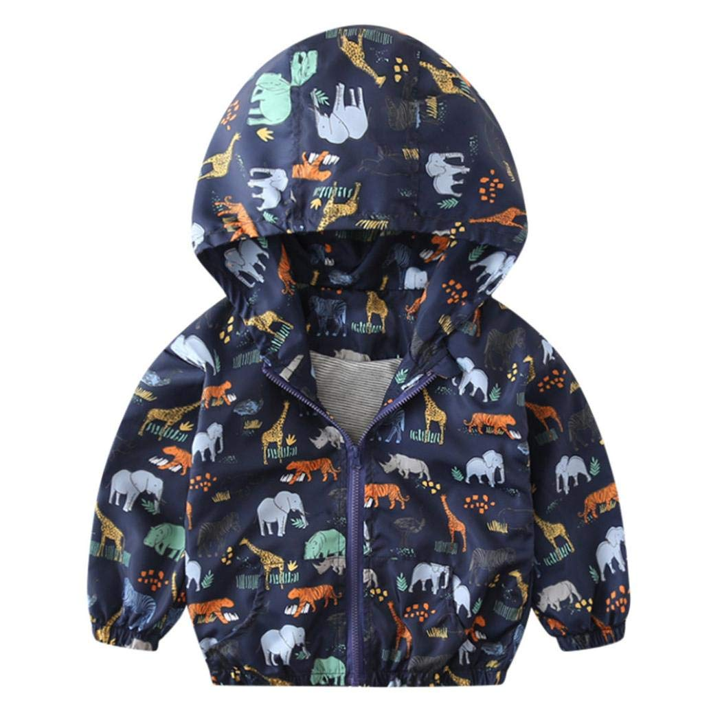 Little Kids Autumn Coat,Jchen(TM) Clearance! Infant Toddler Kids Little Boys Girls Dinosaur Print Hooded Windbreaker Coat Jacket for 1-6 Y (Age: 2-3 Years Old, Navy)