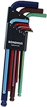 9.8 9.8 Bondhus 38118 Tagged and Barcoded 5//8 Hex Tip Key L-Wrench with GoldGuard Finish