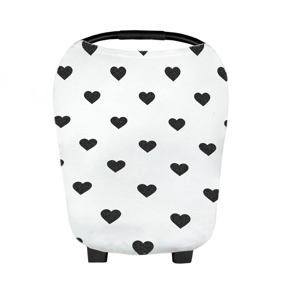 YeahiBaby Baby Nursing Breastfeeding Cover Scarf Car Seat Canopy Stroller Covers Black White Thick Stripe