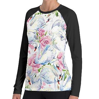 62872c6febba6 Beautiful White Swan Pink Flower Women s Casual Long Sleeve T-Shirts  Sweatshirt Tops Blouse at Amazon Women s Clothing store