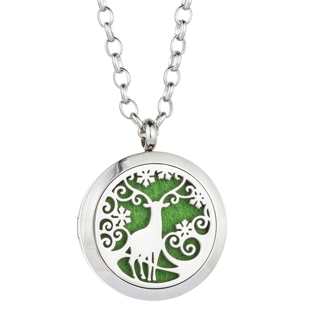 Deer Aromatherapy Necklace Diffuser - Essential Oil Locket Pendant 316L Stainless Steel Perfume Air Freshener Jewelry for Lady Wife with 8 Colors Pads By Jenia