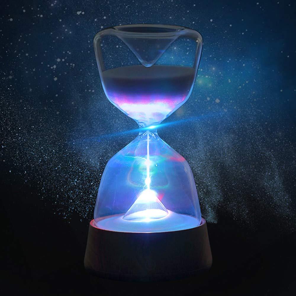 Rumas Romantic Crystal Hourglass LED Night Light Rechargable - Timing LED Beside Lamp Home Decor for Kids Room Bedroom Dorm Hotel - LED Table Lamp Energy Saving Long Lifespan (White)