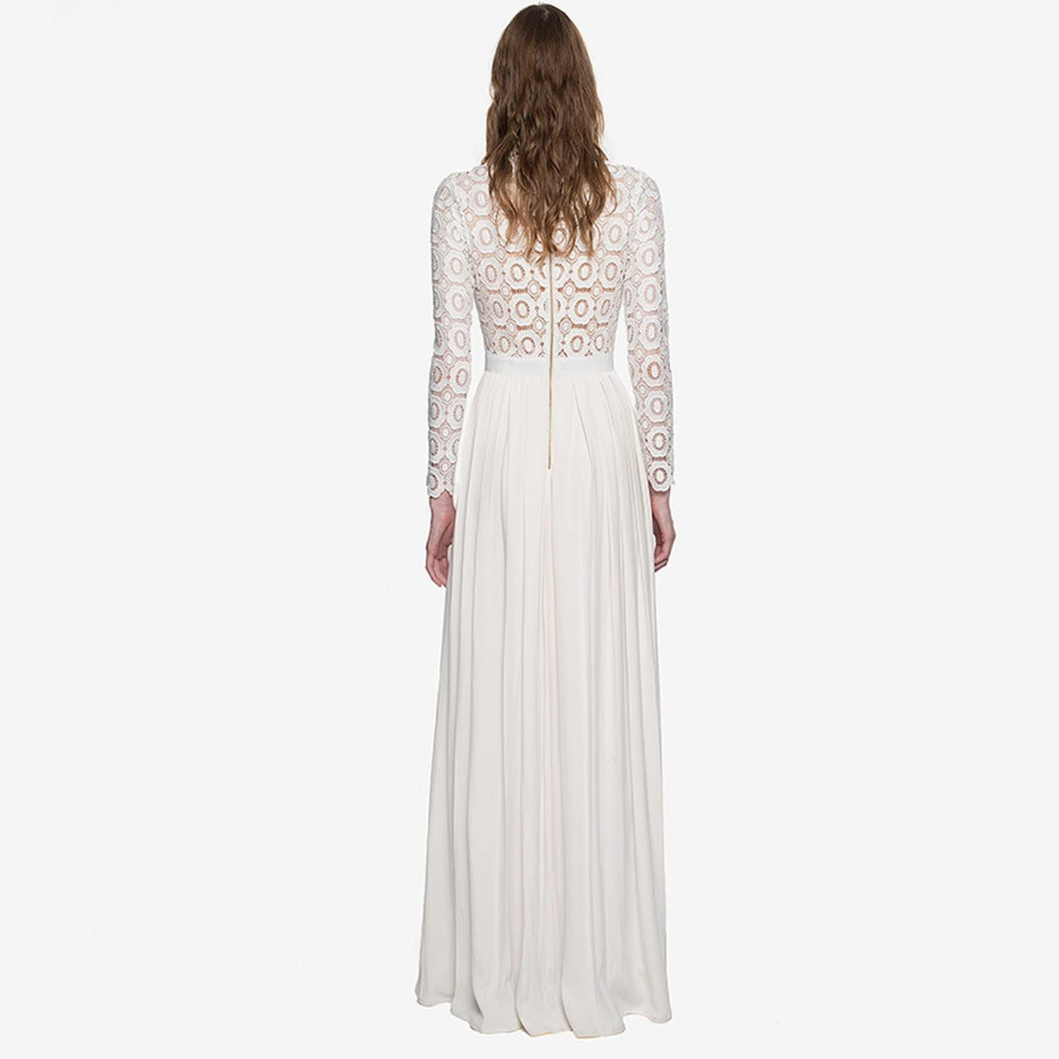 European and American Long-Sleeved Half-high Collar Lace Hollow Stitching Pleated Dress spot