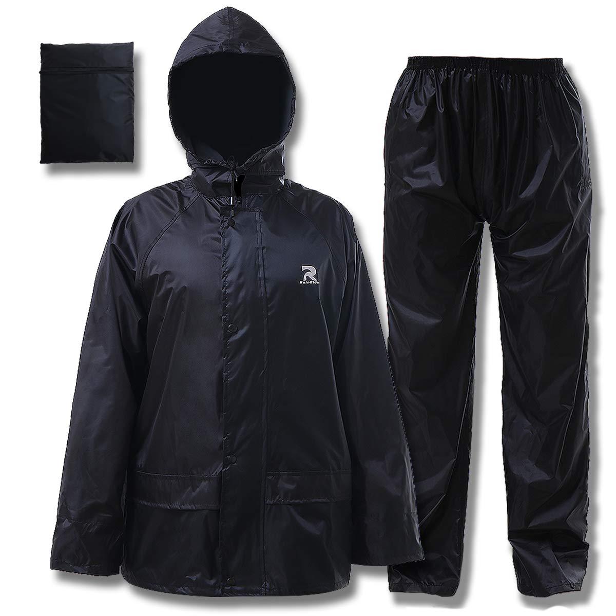 Rain Suit for Men Women Ultra-Lite Rain Gear Jacket with Pants 3-Piece Portable Ripstop(Black,X-Large)