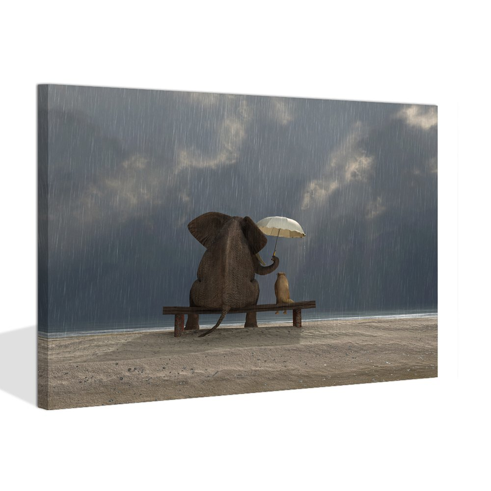 Visual Art Decor Modern Animals Canvas Prints Wall Art Elephant and Dog Sit Under the Rainy Day with Unbrella Picture Framed and Stretched Ready to Hang (Rainy Day, 16''x20'')