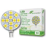 greenandco® G4 LED Bulb 2.4W / 150lm / 3000K (warm white) / 12 x 5050 SMD LED / 120° beam angle / 12V DC