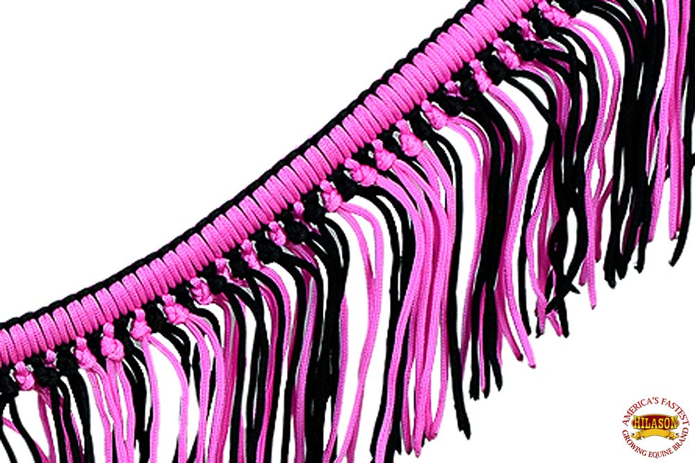 HILASON Pink Black Horse Breast Collar Braided Rope Cord with Fringes