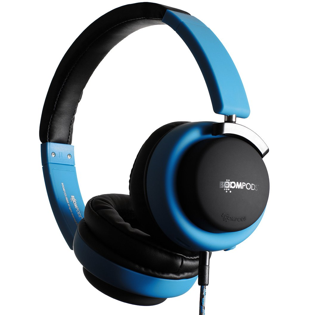 Boompods Hush Active Noise Canceling Headphones (Blue) On-Ear Comfort Earpads - 12 Hour Battery - Deep Bass - Powerful Noise Reduction