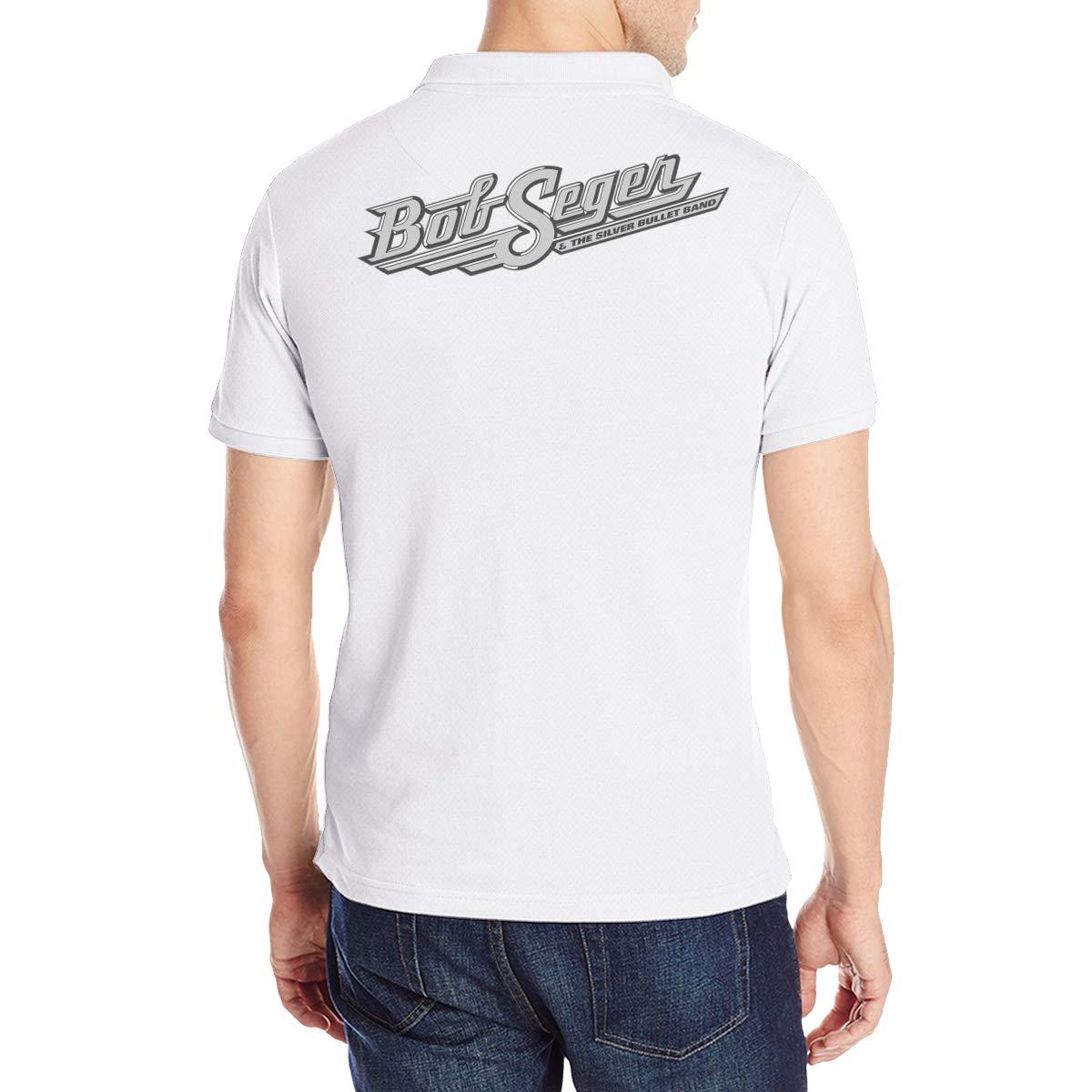 Men Polo Shirt Short Sleeve Lapel Blouse Black Arilce Bob-Seger-The-Silver-Bullet-Band