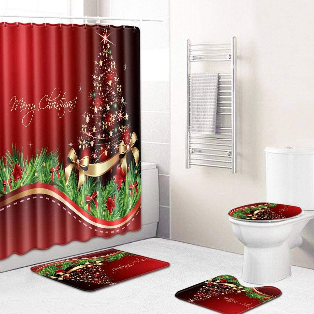 Volwco Merry Christmas Shower Curtain Sets, 10 Pcs Xmas Shower  Curtain/Non-Slip Bathroom Rugs/Lid Toilet Cover/Bath Mat with 10 Hooks,  Christmas