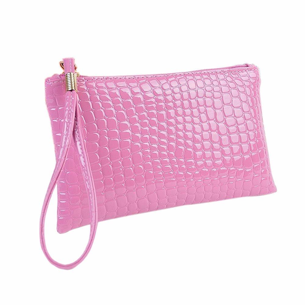 KONFA Fashion Tote Bags For Women Crocodile Embossed PU Leather Handbag Ladies Small Clutch Wallet Coin Holder Bag Mini Purse (Purple)