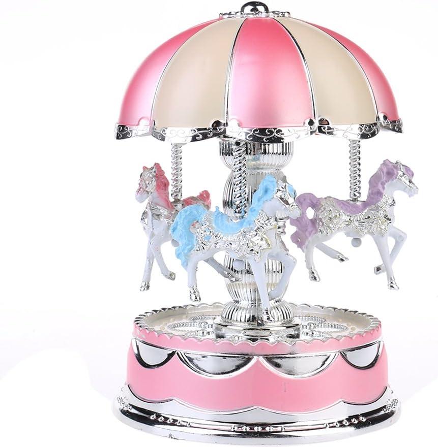 Toys for Girls Carousel Music Box Merry-Go-Round LED Lights Kids Baby Xmas Gift