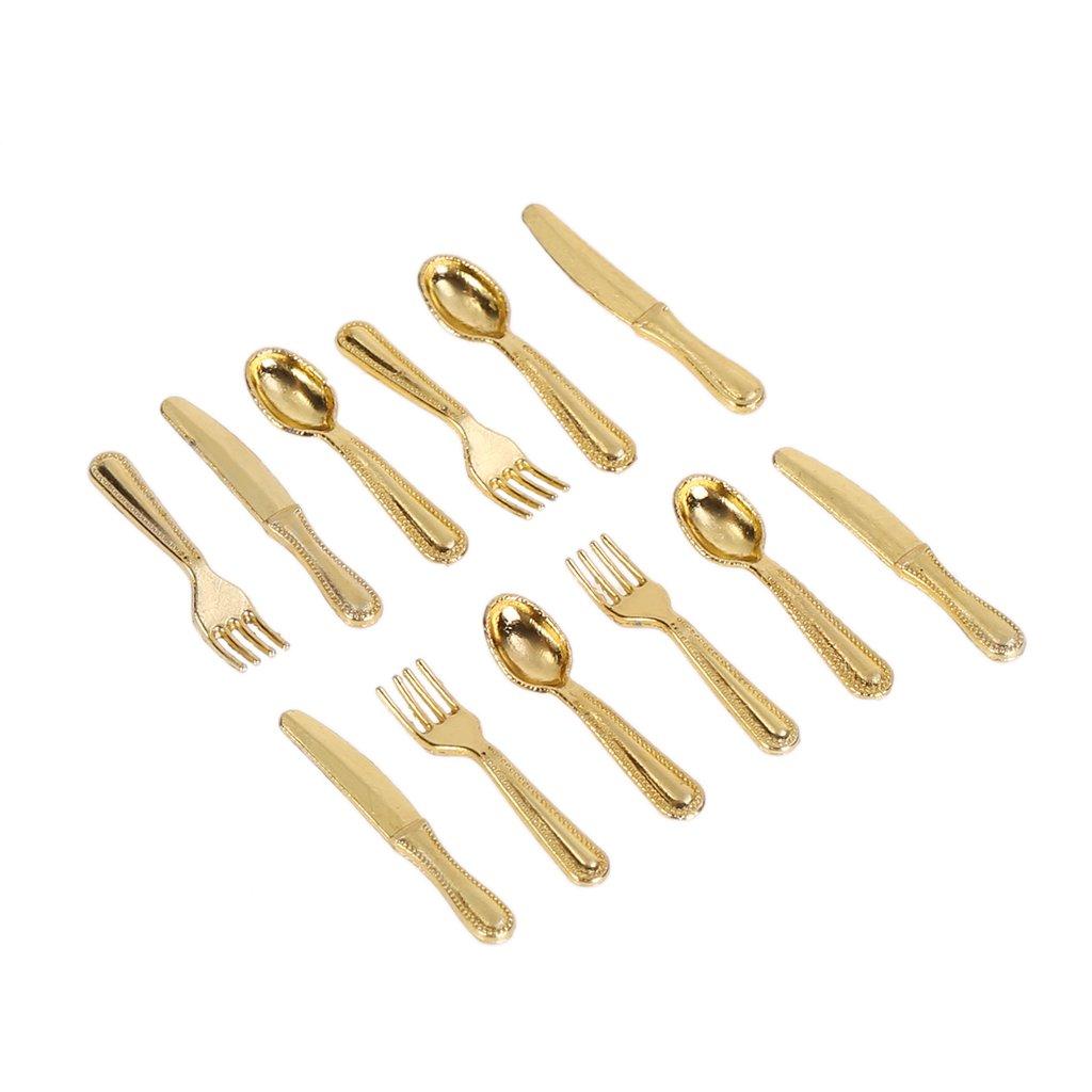 Lamdoo 1: 12Puppenhaus Metall Kochen Werkzeug Gabel Löffel Besteck Küche Geschirr Spielzeug, Metall, Gold, 2x0.3x0.1cm