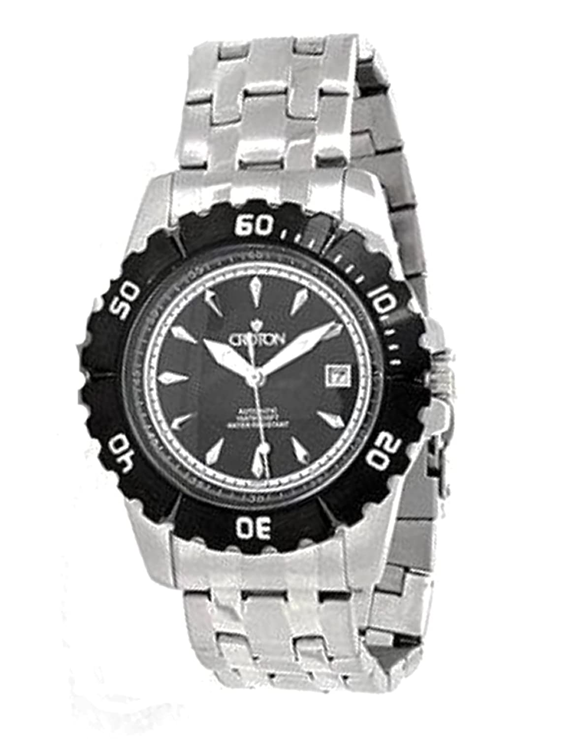 Amazon.com: Croton CA301183BKBK Mens Automatic All Stainless Steel  Unidirectional Bezel Stainless Steel Watch: Watches