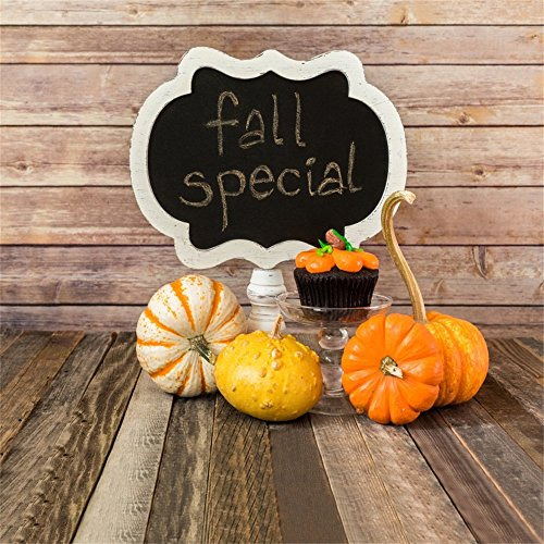 Leowefowa 10X10FT Fall Special Halloween Backdrop Pumpkin Cupcakes Rustic Wood Plank Vintage Stripes Wooden Floor Vinyl Photography Background Kids Children Adults Photo Studio (Halloween Special Cupcakes)