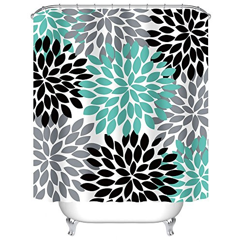 Multicolor Dahlia Pinnata Flower Shower Curtain - Waterproof and Mildewproof Polyester Fabric Bath Curtain Design,72 x 72-Inch,Teal Black Grey