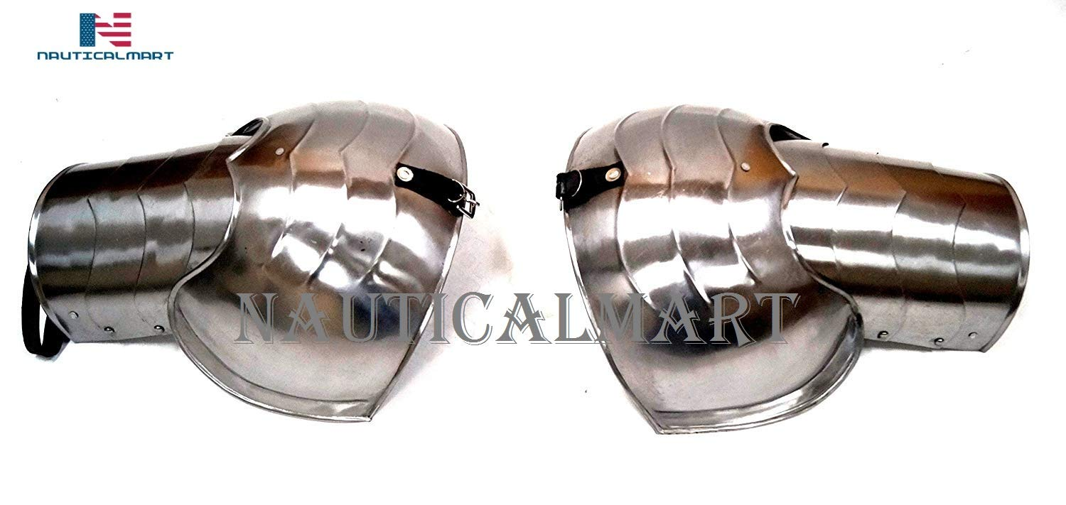 NAUTICALMART Pair of 12 Inch Pauldrons - Shoulder Armor - Fully Wearable Neck Armor Medieval Halloween Costume by NAUTICALMART