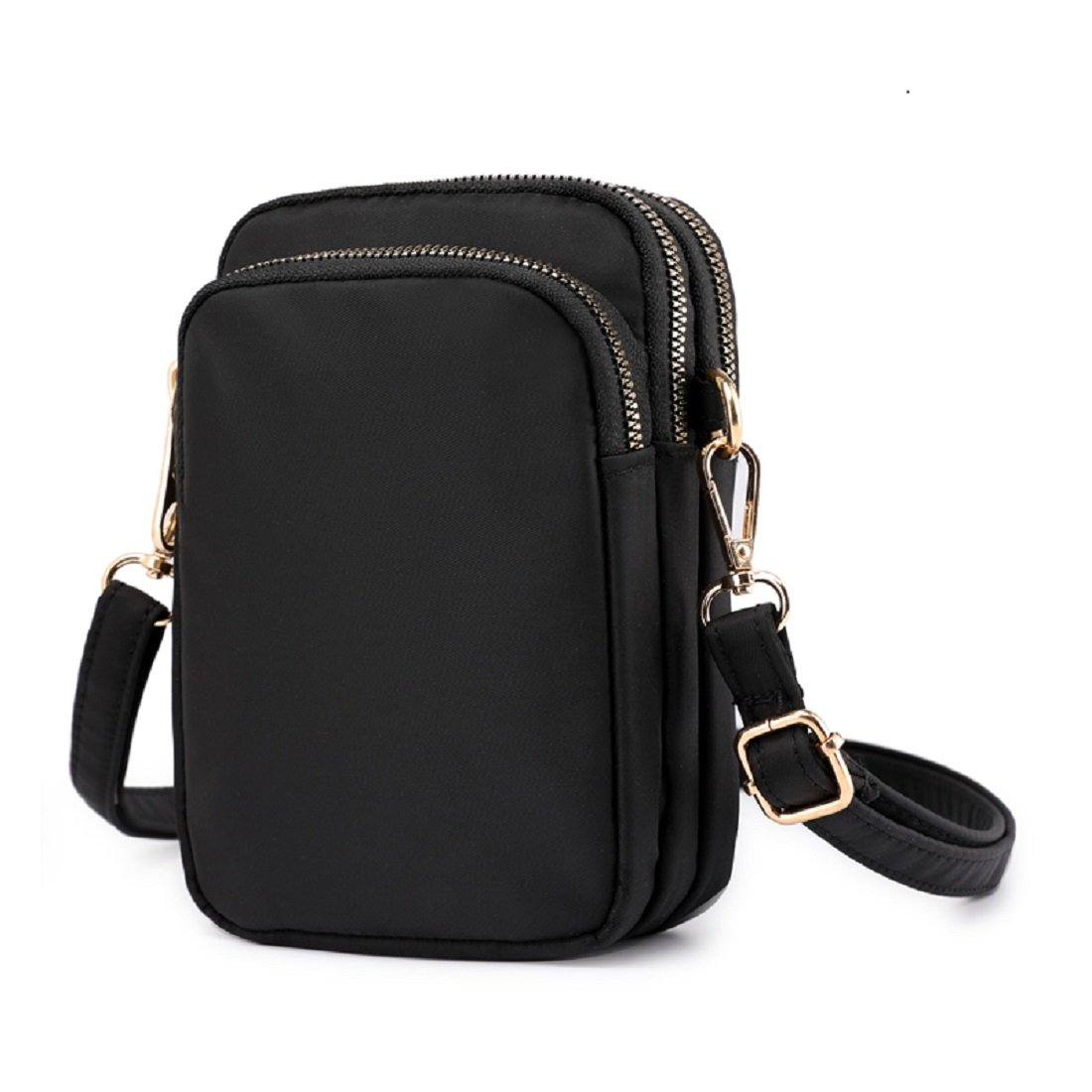 Cell Phone Purse Waterproof Nylon Small Crossbody Shoulder Bag Smartphone Holder Wallet For Women (Black)