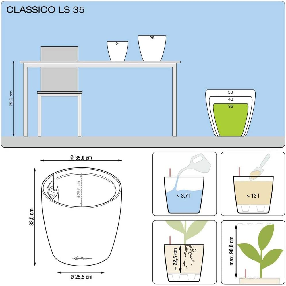 Classico Premium 35 LS Antraciet Metallic all-in-One Lechuza
