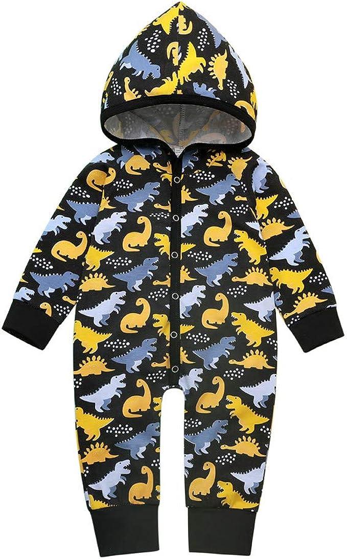 SUCES Baby Overall Junge M/ädchen Niedlich Karikatur Dinosaurier Kapuzenpullover Einfarbig Lange /Ärmel Mit Kapuze Onesies Mode Beil/äufig Bodysuit Gem/ütlich Baumwollmischung Outfits