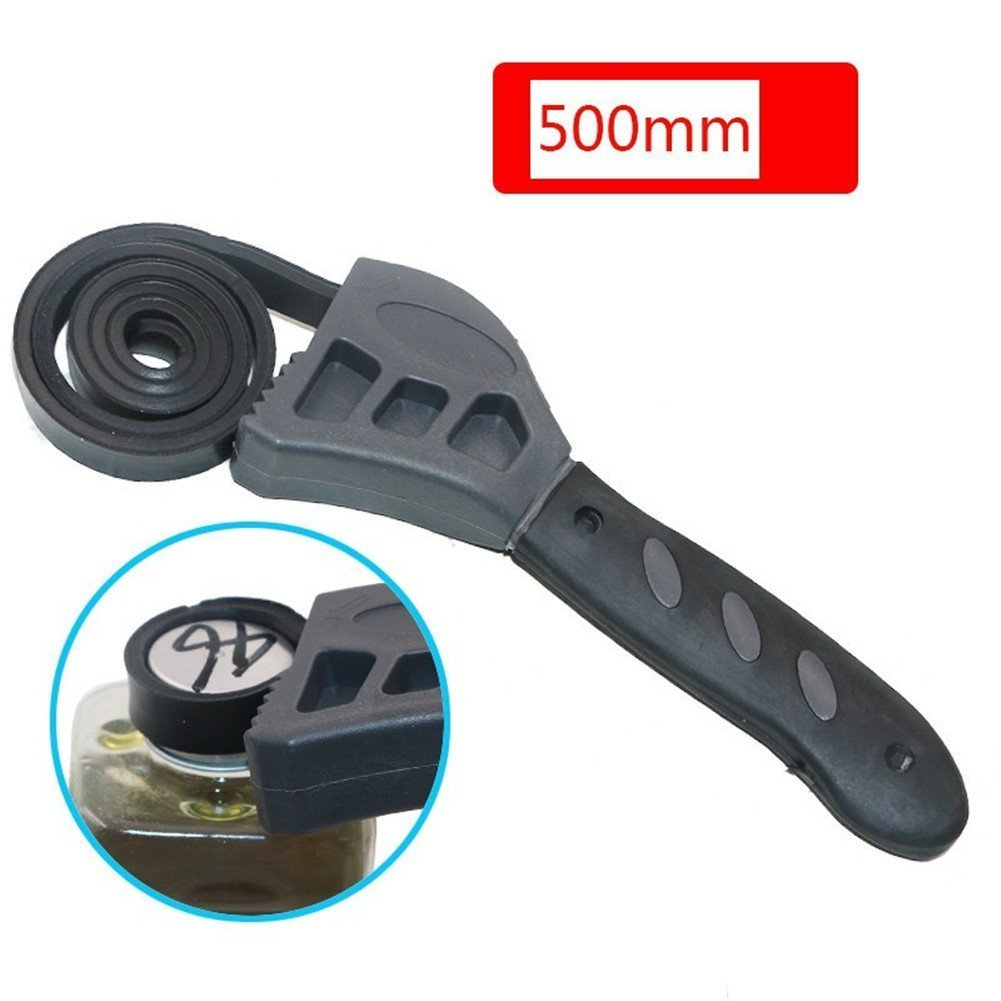 Multi Tool Universal Wrench 500mm Adjustable Black Rubber Strap Spanners Wrench Jar Lids Tighten Loosen Plumbing Tool Oil Filter Spanner Removal Tool