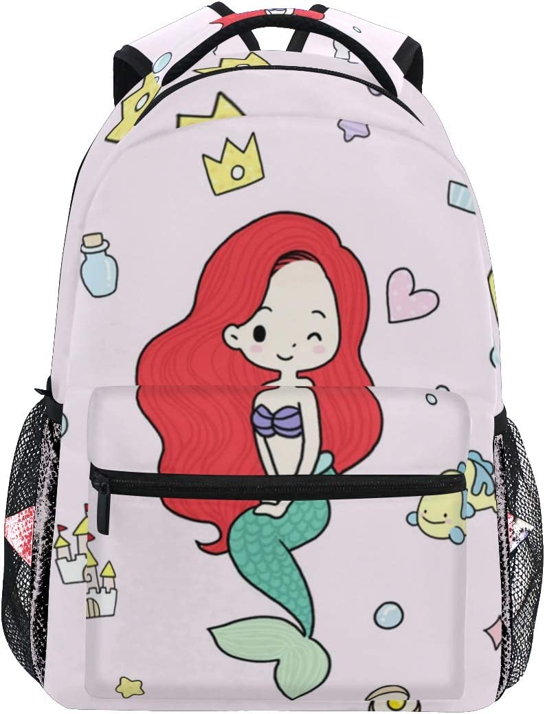 16x12x6 Student Backpacks College School Book Bag Travel Hiking Camping Daypack for boy for Girl Holds 15.4-inch Laptop(Mermaid Pattern)
