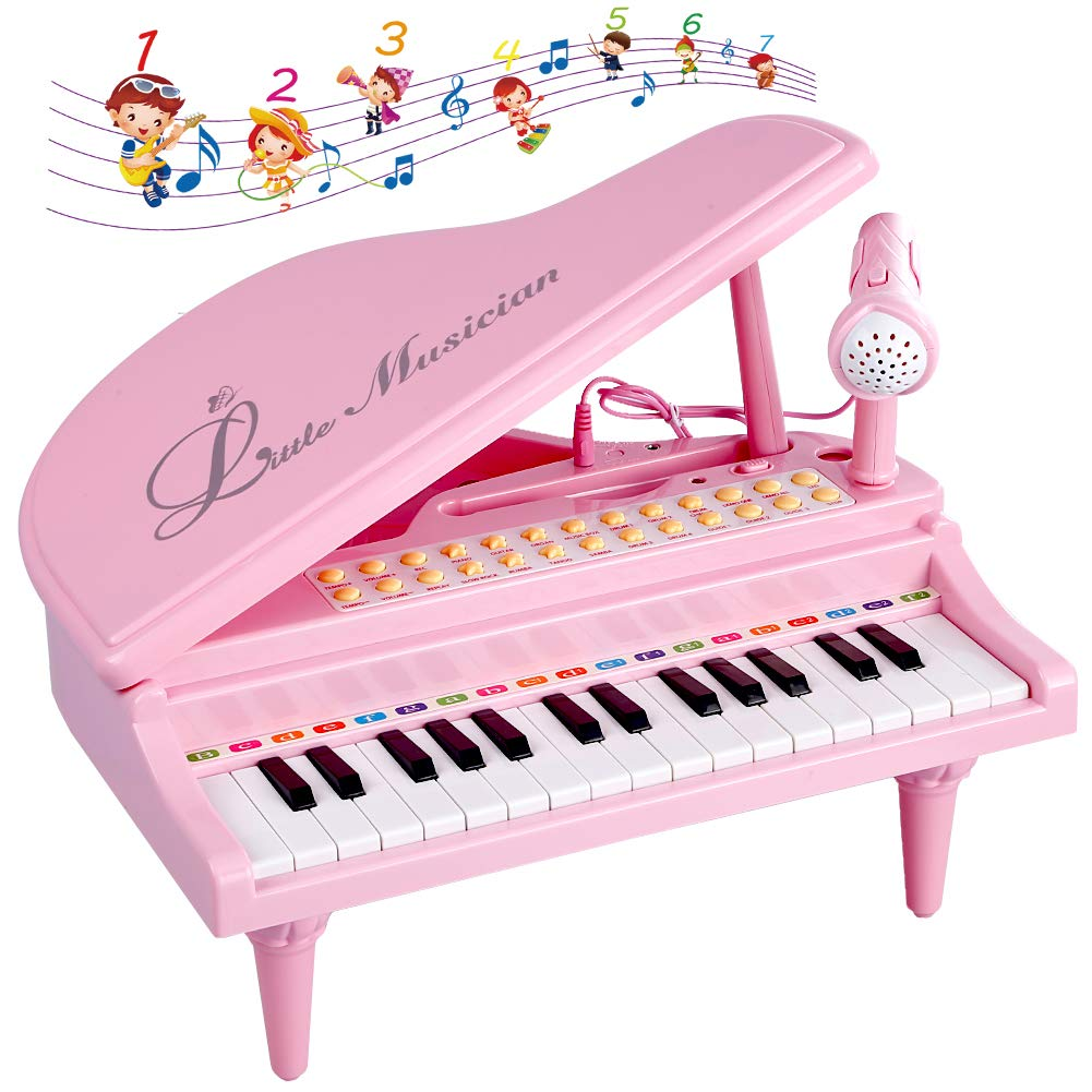 Okreview Piano Toy Keyboard Electronic Multifunctional Instruments for Toddlers Musical Talent Development Pink