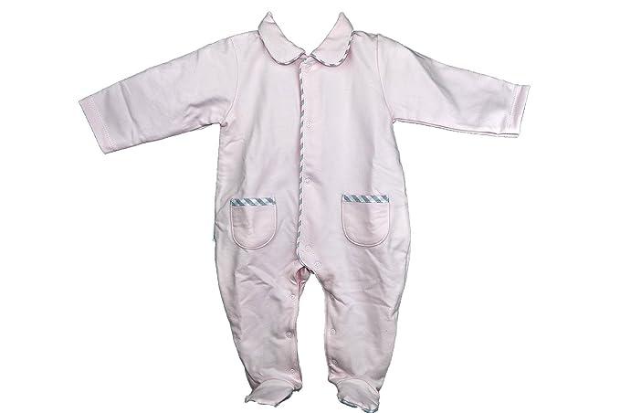 Pijama-buzo de primavera rosa con abertura delantera y con bolsillos y pies de cuadros