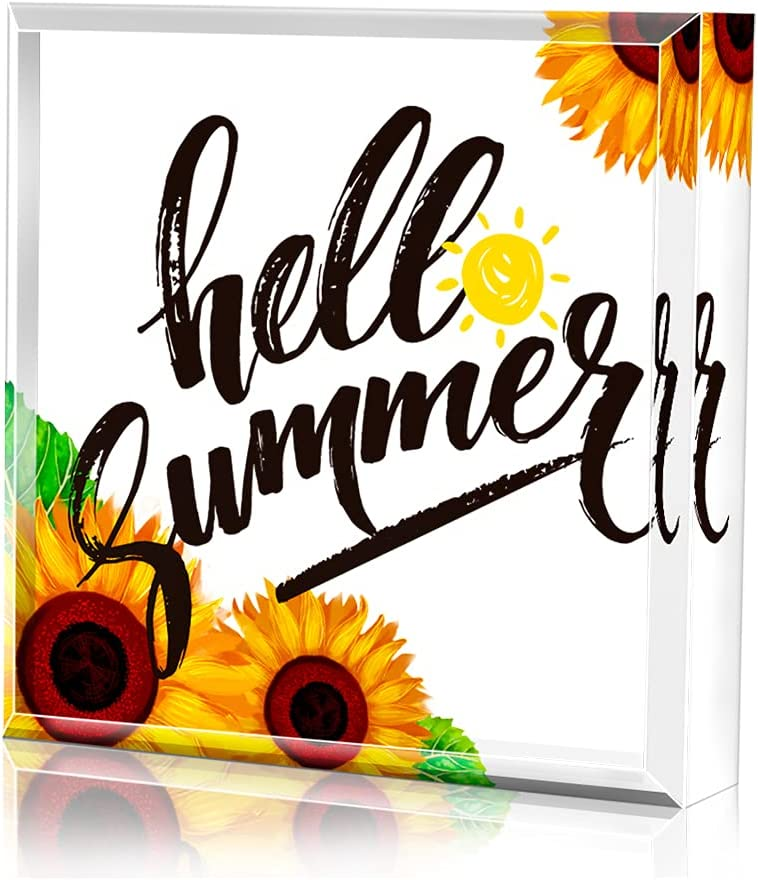 PETCEE Hello Summer Decor,Keepsake and Paperweight,Sunflower Decor Sign 4