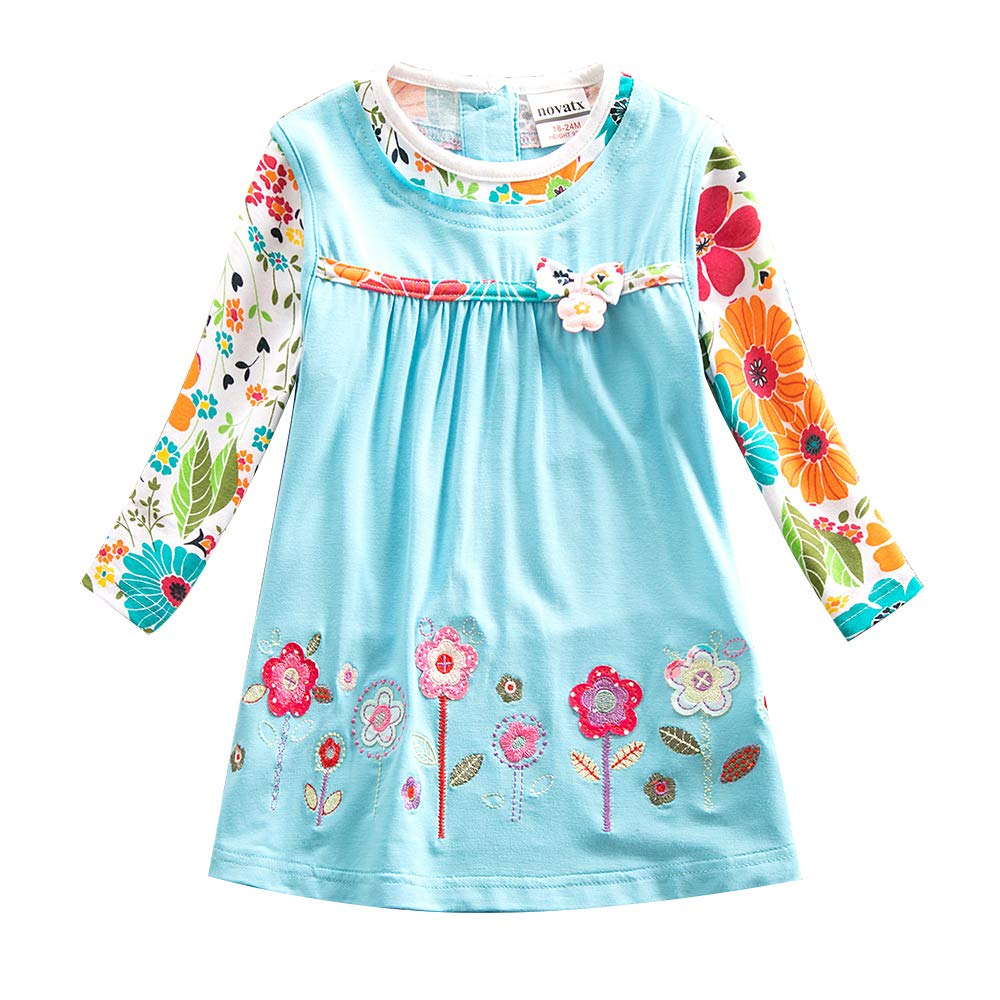 JUXINSU Toddler Girl Cotton Flower Long Sleeve Dress Wave Point Cartoon White Rabbit Bow for 3-8 Years LH4829