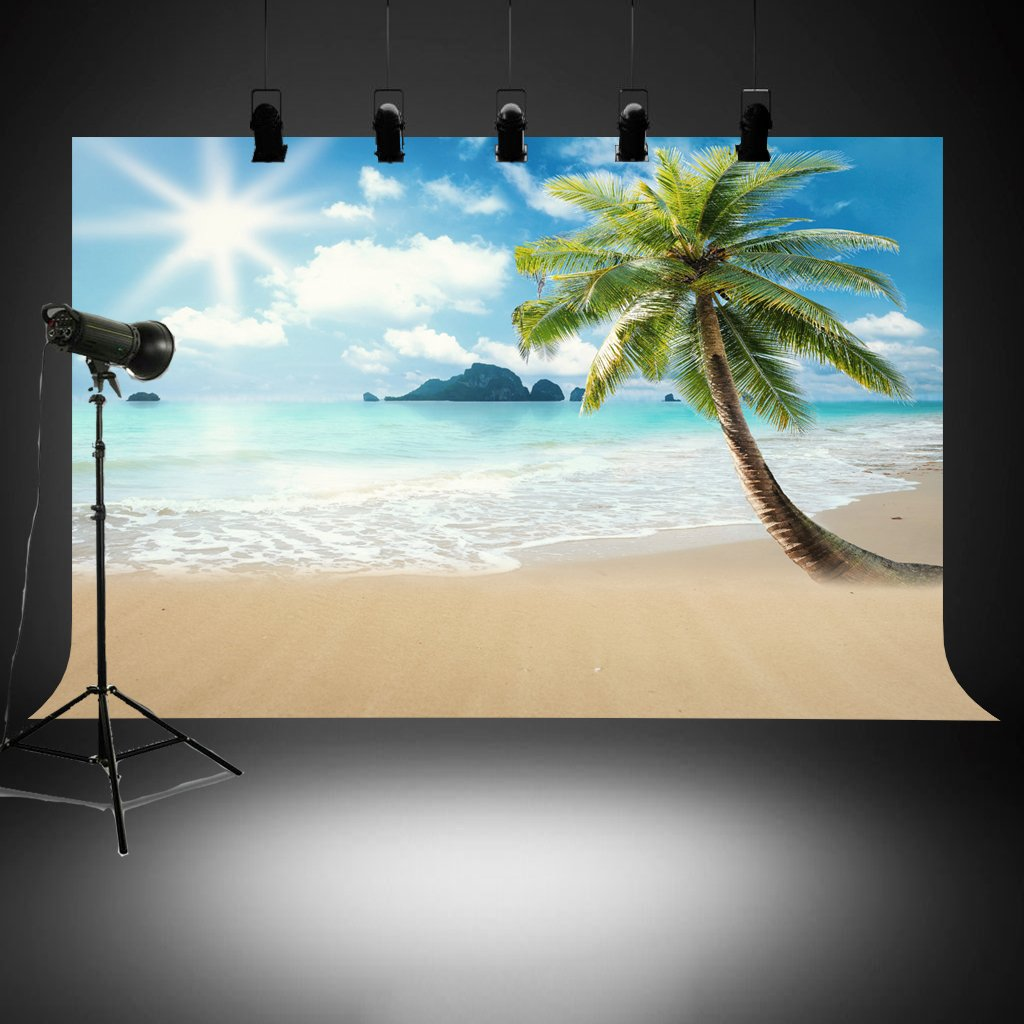 Booth 4.9 x 7.2 Feet Business Use Wedding Tropical Beach Background Great for Studio Photo Photography Backdrop Party