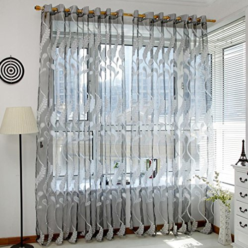 1Pc Floral Door Window Voile Tulle Valance Curtain (Coffee) - 1